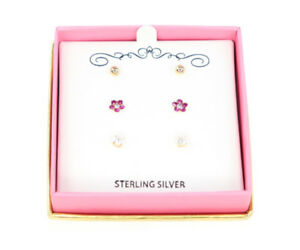 6bd036323 Macys 18K Gold Over Sterling Silver Girls Stud Trio Earrings Set $60 ...