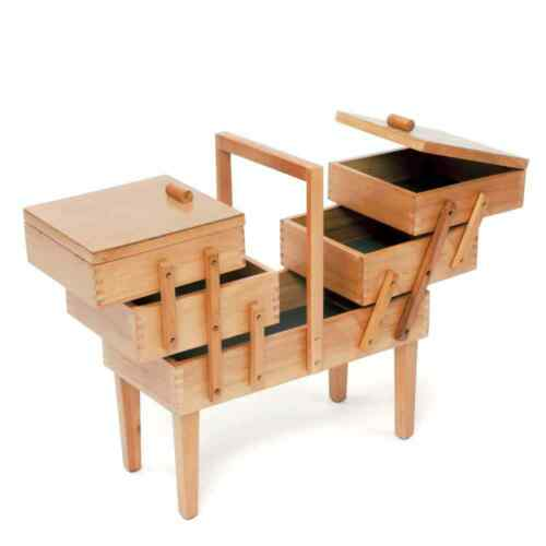 Wooden 3 Tier Cantilever Sewing Chest With Legs
