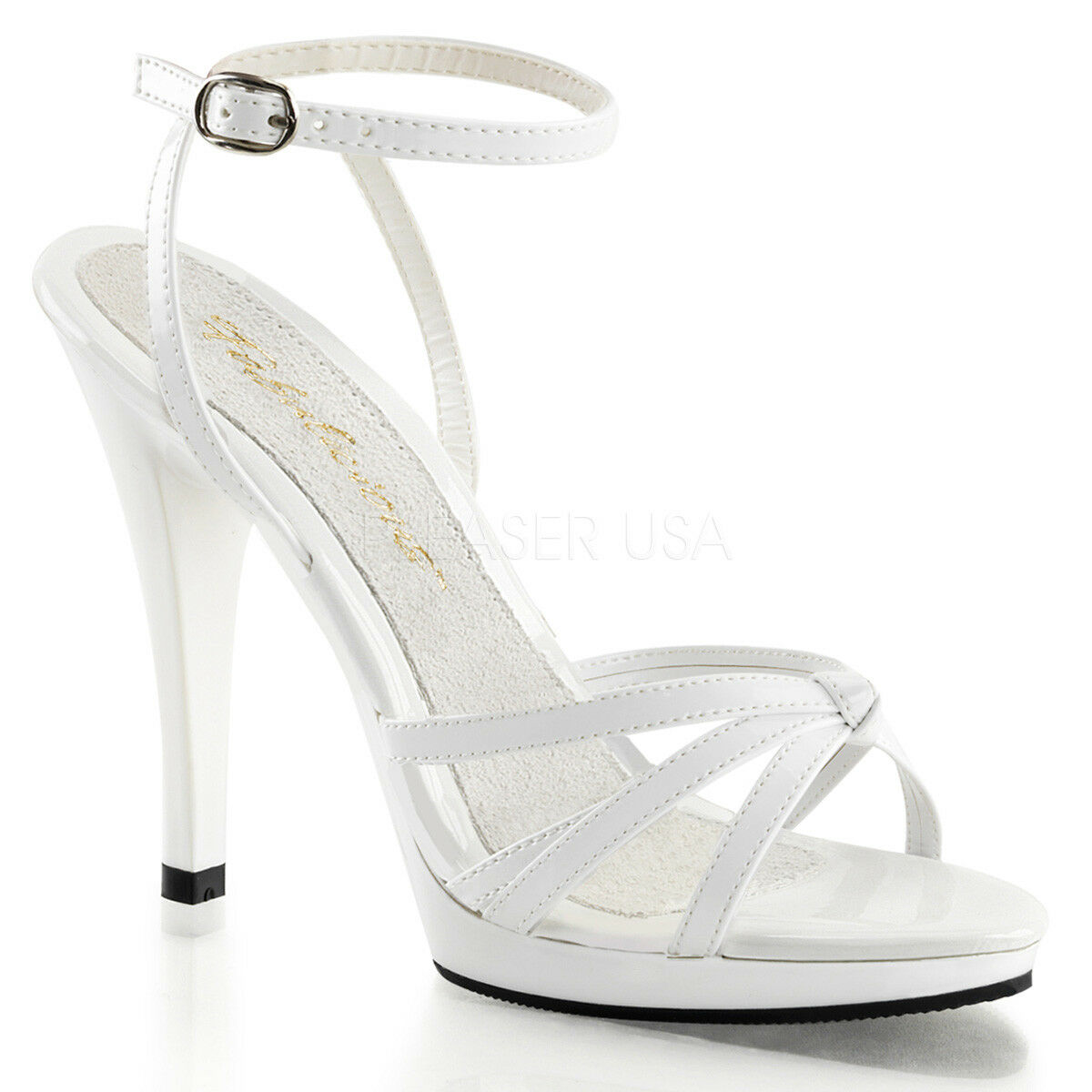PLEASER FABULICIOUS FLAIR-436 WHITE PATENT PATENT PATENT PLATFORM STILETTO HEEL SANDALS 995f4c