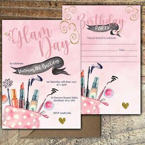 BIRTHDAY-INVITATIONS-Beauty-Salon-Glam-Party-Personalised-or-Blank-Any-Age-PK-10