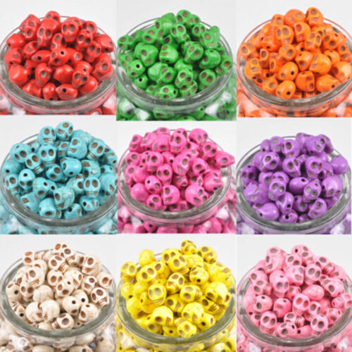 Wholesale 20//50//100PCS Turquoise Carved Skull Head Howlite Spacer Loose Beads