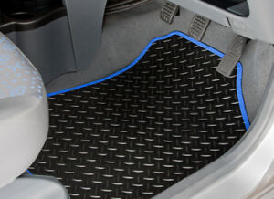 NISSAN-MICRA-2010-TO-2017-TAILORED-RUBBER-CAR-MATS-WITH-BLUE-TRIM-2326
