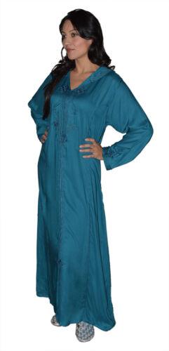 Moroccan Caftan Kaftan Handmade Cotton Ibaya Jellaba Jilbab Fits up to XL Blue