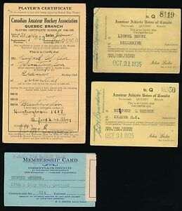 1930's Professional HOCKEY Players' Own ID Cards -BUFORD WEBBER w/ Autographs
