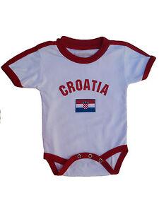 a981e332d5d Image is loading Croatia-Baby-Bodysuit-100-Cotton-Soccer-Futbol-Jersey-