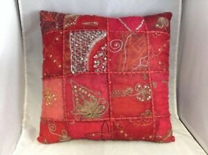 Vintage Red Gold Floral Pattern Beaded Pillow Home Decor Ebay