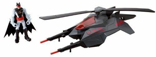 """Blades Helicopter W// 4/"""" Action Figure Batman Batcopter DC Comics Rotating Heli"""