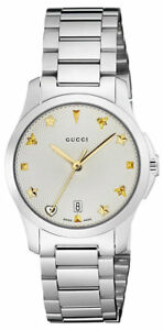 f4a073278d5 Gucci G-Timeless 27MM Silver Guilloché Dial YG Tone Gucci Indexes ...