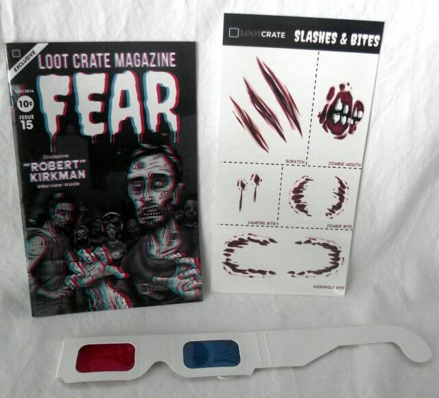 Loot Crate 3D Glasses Fear Magazine Tattoos Slashes Bites Oct 2014 Issue 15 New