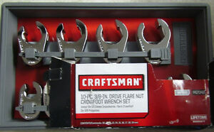 CRAFTSMAN 10-PC. 3/8-IN.DRIVE FLARE NUT CROWFOOT WRENCH SET METRIC