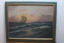 Öl Bild Ölgemälde auf Leinwand Franz Waldegg Maritim Segelschiff 3 Master #2600