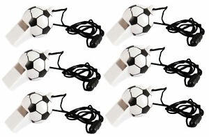 6-Black-amp-White-Football-Whistles-Loot-Party-Bag-Fillers-Wedding-Kids-Pinata