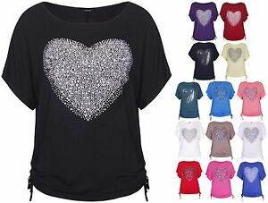 Womens-Heart-Print-Sequin-Ladies-Short-Batwing-Sleeve-Tie-T-Shirt-Top-Plus-Size