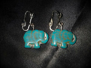 Turquoise Elephant Clip On Drop Dangle Earrings, Mystical, Steampunk, Goth Magic