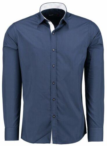 Herren Hemd Hemden Bügelleicht Business Hochzeit Freizeit Slim Fit  S BLAU