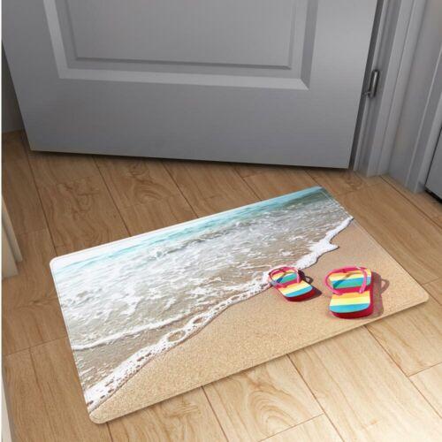 Non-slip Beach Sand Flannel Doormat Kitchen Bedroom Bath Floor Mat Rug Carpet