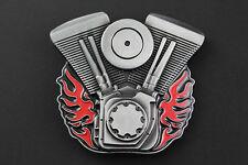 FLAMING V TWIN MOTORCYCLE ENGINES BIKE BIKER BELT BUCKLE METAL