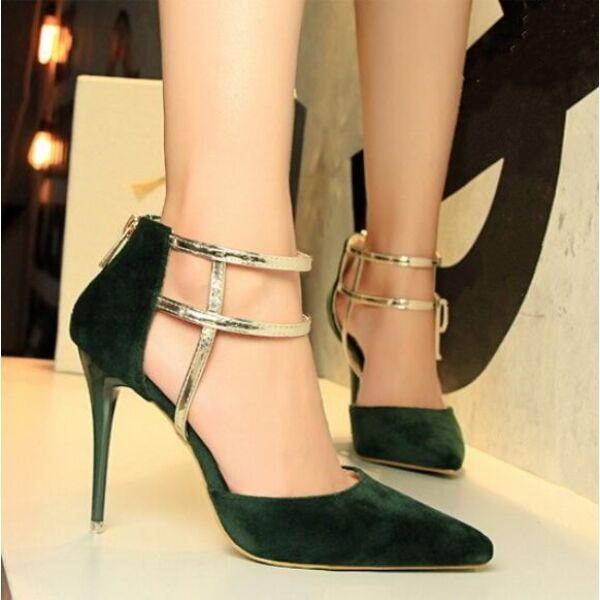 zapatos de salón mujer elegantes tacón aguja 9.5 cm verde oscuro como piel CW502