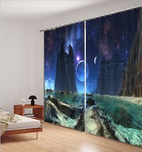 3D Blockout Fabric Window Curtain 2 Panel Set Drape-Star Planet Mountain 117