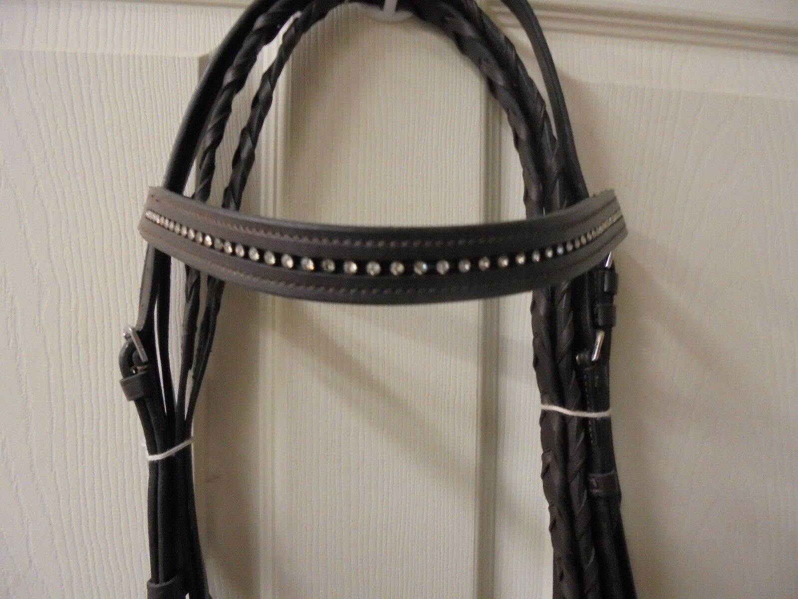 Tough 1 Raised Snaffle Eng. Bridle WStone Crystals & Laced  Reins  Dark Oil