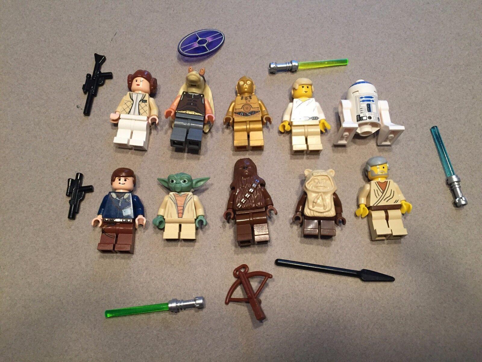 LEGO  lot of 10 estrella guerras Good Guy Minifigs Yoda Luke Leia Han R2-D2 Chewie R324  negozio d'offerta