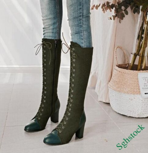Ladies Fashion Knee High Boots Block Side Zip Lace Up Knight Riding Shoes Sz