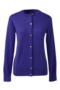 Lands End  Women's LS Supima Crew Cardigan Sweater Purple Sapphire New