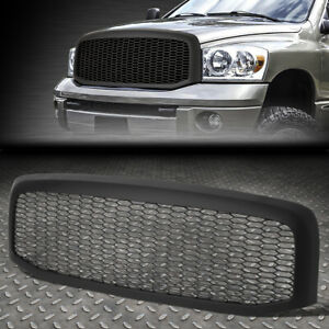 Matte Black Honeycomb Mesh Front Hood Bumper Grille Grill Replacement for Dodge Ram 1500 2500 3500 06-09