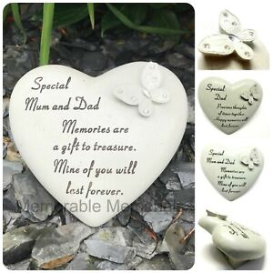 Special Husband Diamante Butterfly Heart Graveside Memorial Ornament Plaque