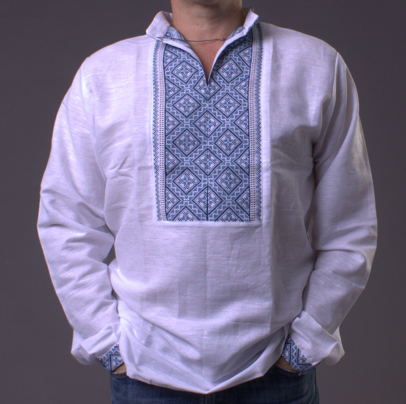 VYSHYVANKA Mens Ukrainian Embroidered LINEN White SHIRT L GIFT FOR DAD IDEA