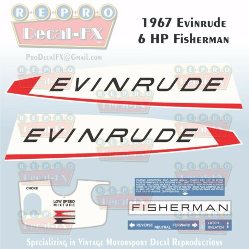 1967 Evinrude 6 HP Fisherman Outboard Reproduction 7 Pc Vinyl Decal 6702-03