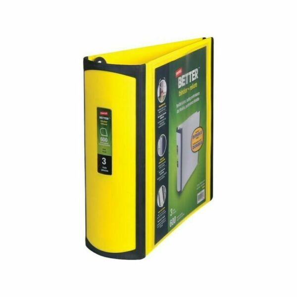 Staples 3 Inch Betterview Binder With D-rings Yellow For