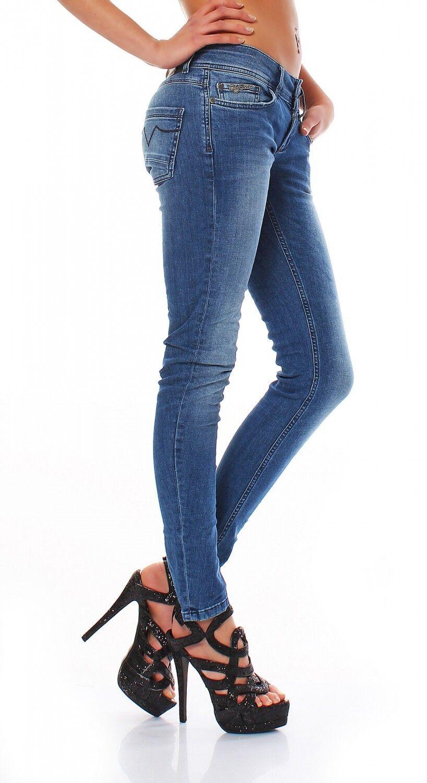 Big Seven Electra Blu Blu Blu Luminoso Aderente Jeans Pantaloni Donna 16402d