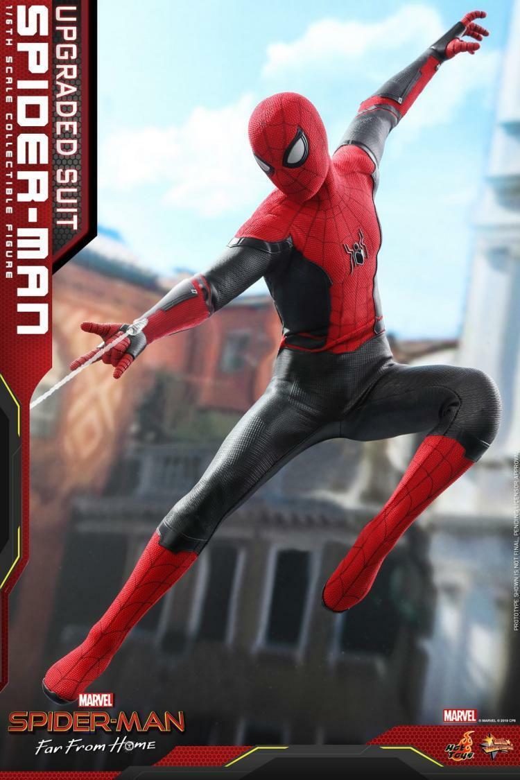 1 6 Hot Juguetes MMS542 Hombre Araña lejos de casa actualización Battlesuit Figura De Acción