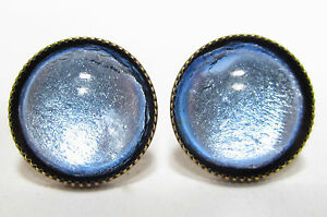 SoHo-Ohrstecker-vintage-bohemia-Glas-silver-blue-handgemachte-Glassteine-1960-s