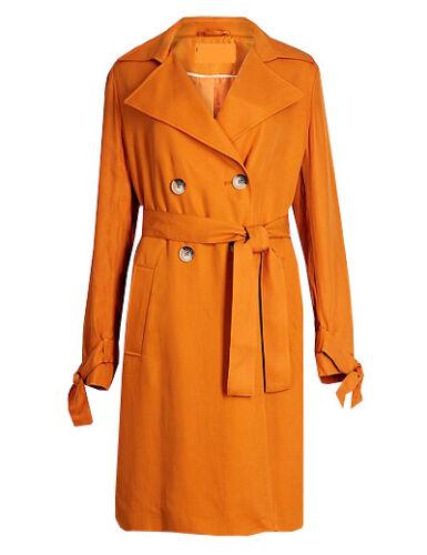 LADIES EX M/&S PUMPKIN ORANGE TRENCH COAT 6-24 DOUBLE BREASTED RRP £79 BRAND NEW