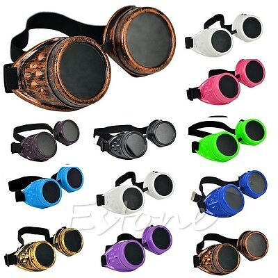 Gothic Vintage Victorian Steampunk Goggles Glasses Welding Cyber Punk Cosplay