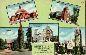 1940-039-S-ASHEVILLE-NC-VIEWS-OF-CHURCHES-POSTCARD-HH8