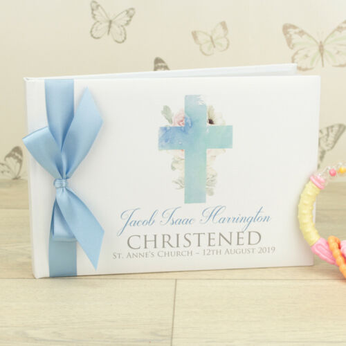 Personalised Christening Watercolour Cross Guest Book