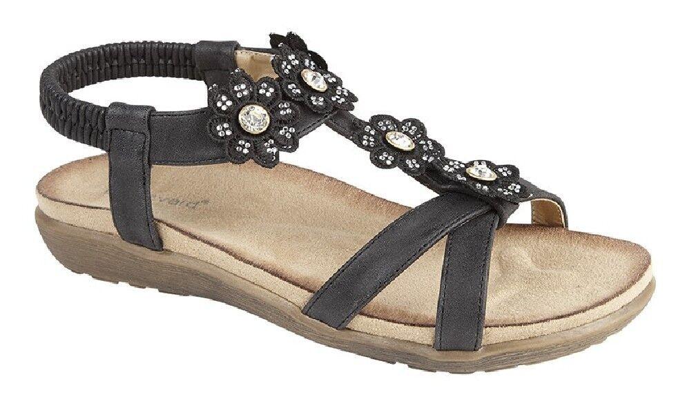 Ladies Boulevard Elasticated Petal Diamante Halterback Summer Sling Back Sandals
