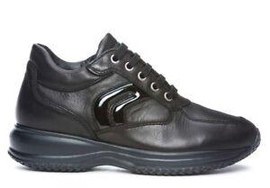 GEOX-HAPPY-D7356B-BLACK-scarpe-donna-sneakers-pelle-casual-camoscio-zeppa