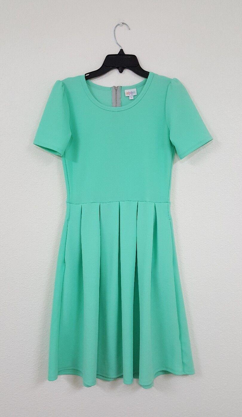 LuLaRoe Amelia Solid Teal bluee Unicorn Dress Women's Size S
