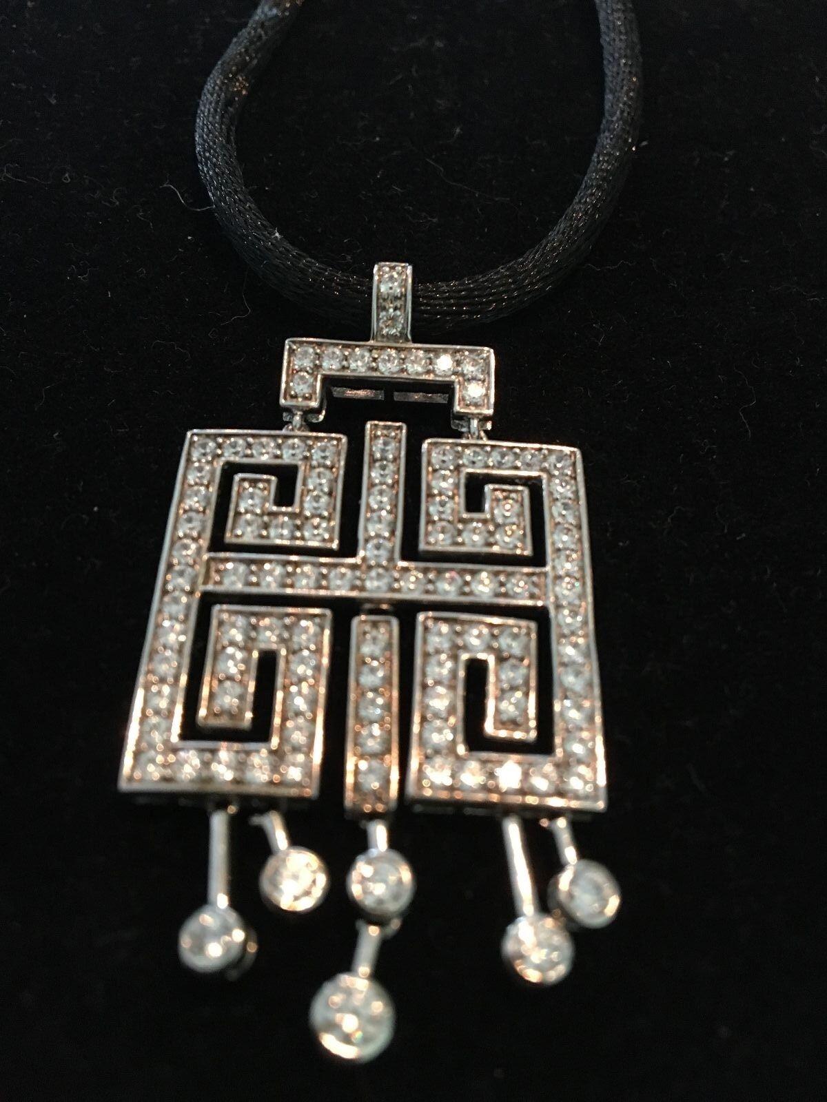 Diamonique(R)  SS Art Deco Pendant w adjustable Cord 2.40 carats