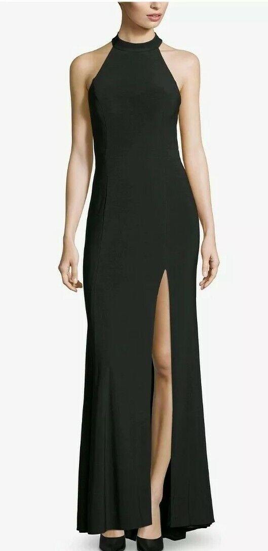 Beautiful Crisscross, Halter, Slit Blk Gown, Size 8, Reg  209 @ Macys Now