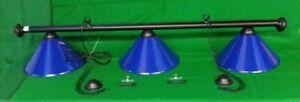 BLACK LEATHER POOL SNOOKER TABLE LUXURY LIGHTING /& LIGHT BLUE SHADES CHANDELIER