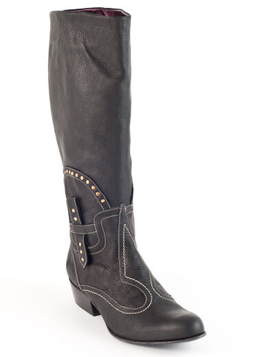New  El Vaquero Black Leather Studded Boots Size 36 US 6