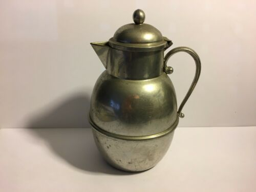 Small PEWTER Pitcher with hinged attached lid.