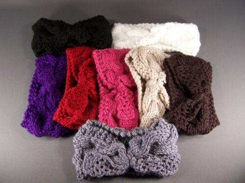 Purple knot turban style crochet ear warmer muff head band wrap knit stretch