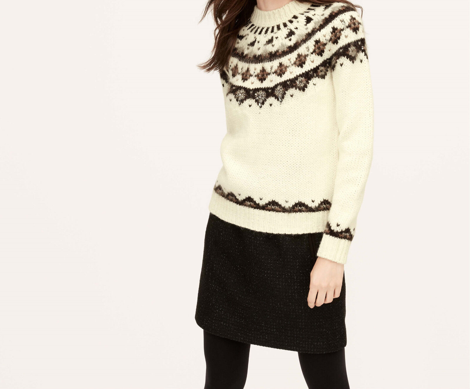 Ann Taylor LOFT Embellished Fair Isle Sweater Various Sizes NWT Whisper White