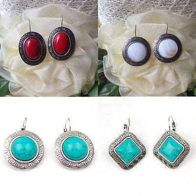 Women Tibetan Silver Stone Turquoise Drop Earrings Stud Charm Jewelry White